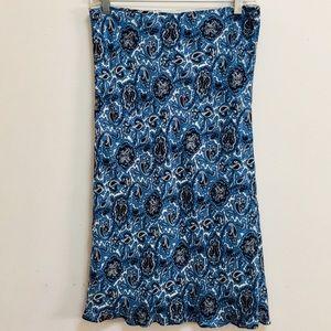 Michael Kors Blue Paisley Silk Maxi Skirt (8)